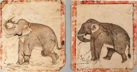 Two paintings of elephants and snakes, Pahari, 18th