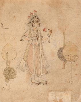 A sketch of a prince, Basohli school, 17th century, in