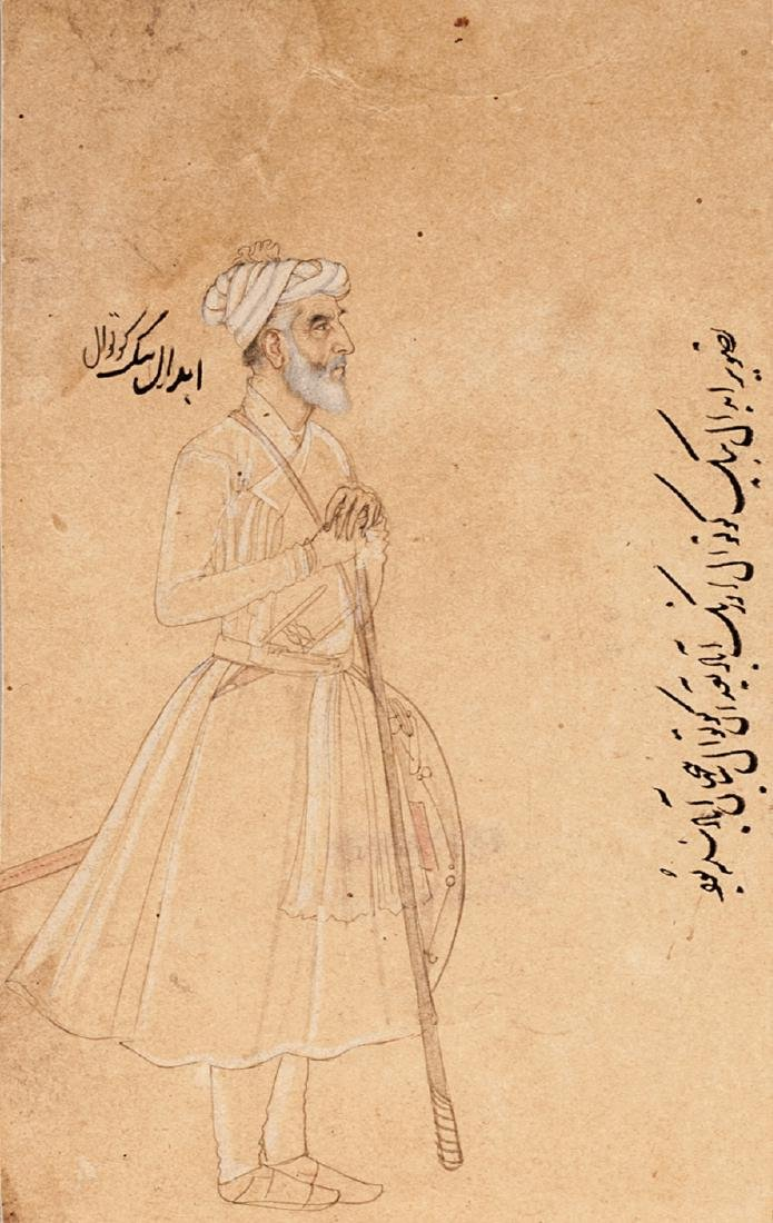 A portrait of Ibdal Beg Kotwal, 19th century,  holding - 3