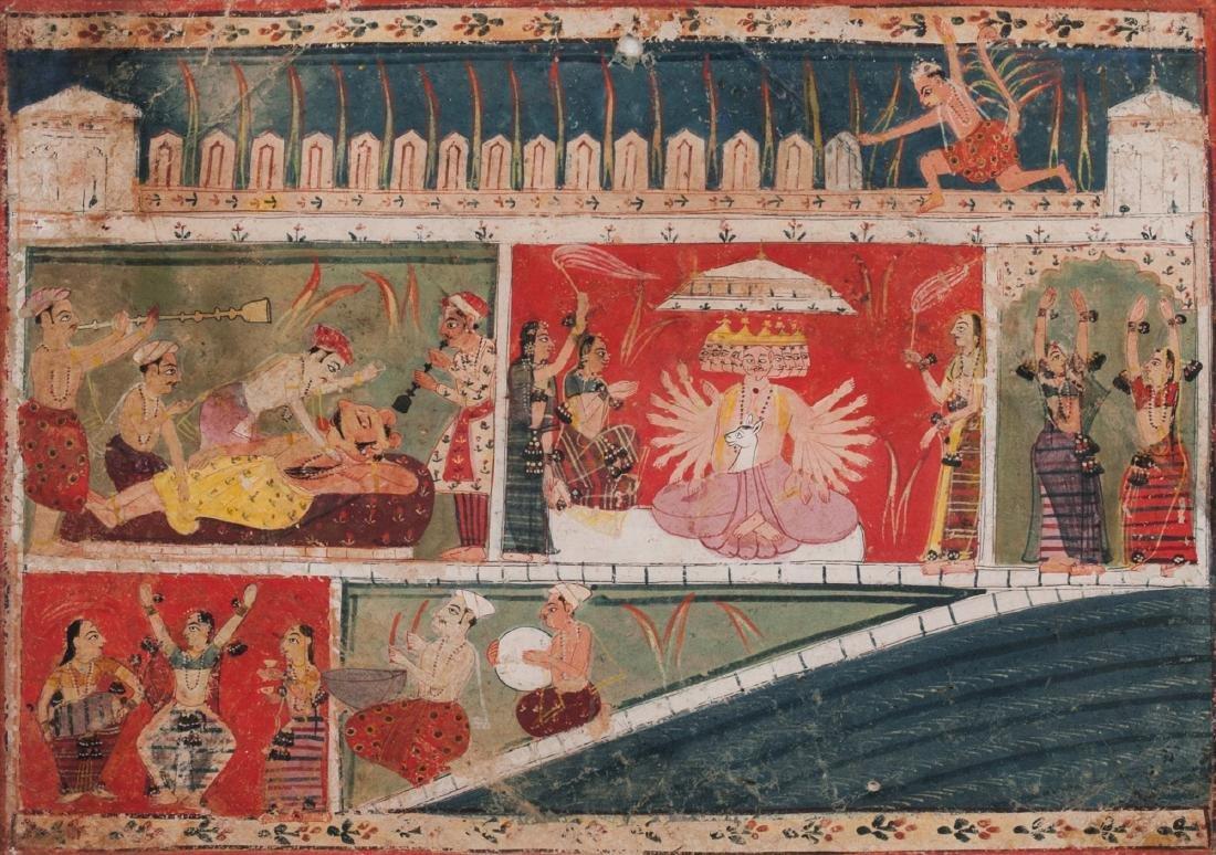 An illustration from the Ramayana, Malwa, Rajasthan,