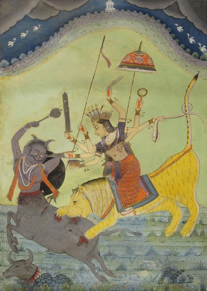 Durga slaying a demon, Bikaner, 18th century, gouache