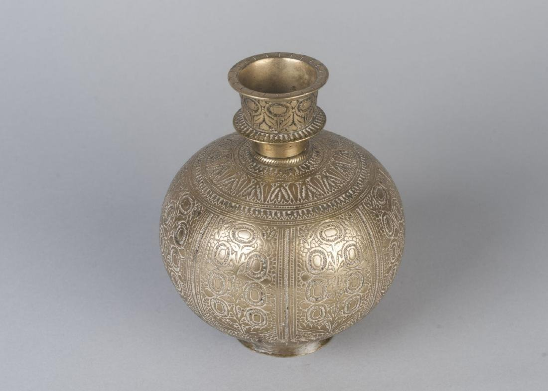 A brass hookah base, India, 18th century, of globular - 2