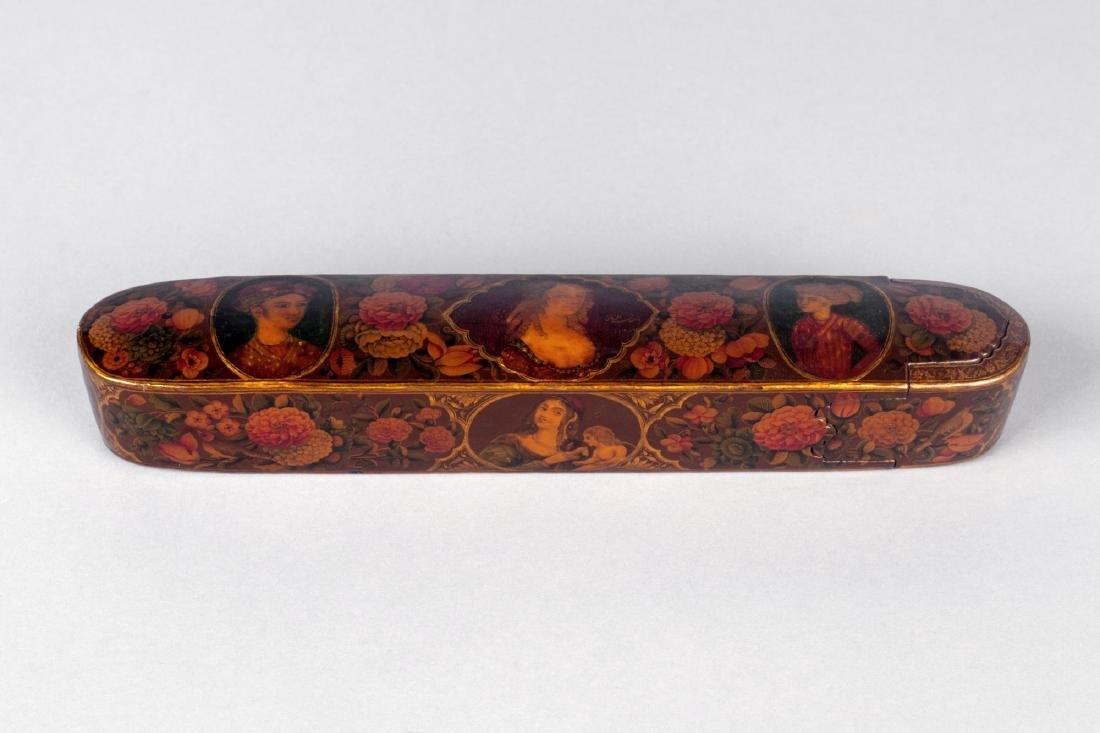 A polychrome lacquer papier mache qalamdan (pencase),
