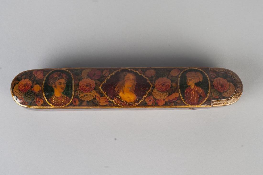A polychrome lacquer papier mache qalamdan (pencase), - 2
