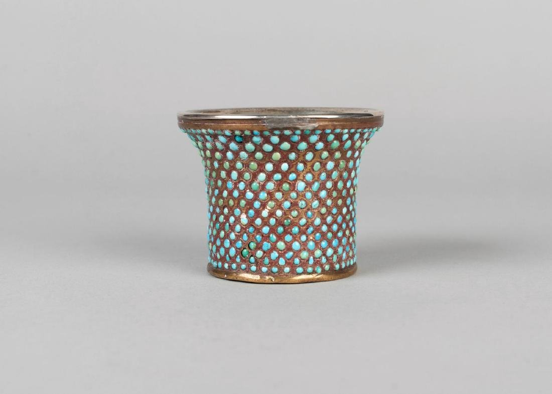 A Qajar turquoise-set brass Ghalian cup, Iran, 19th