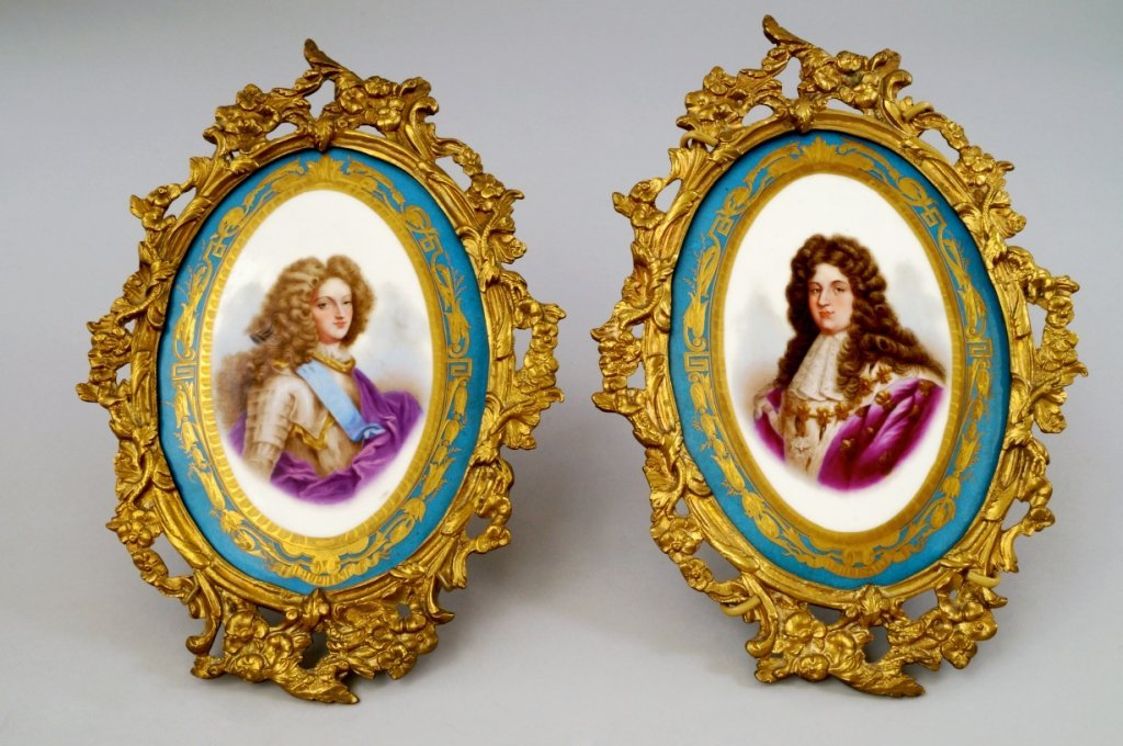 A pair of oval painted panels, possibly Sevres, 19th