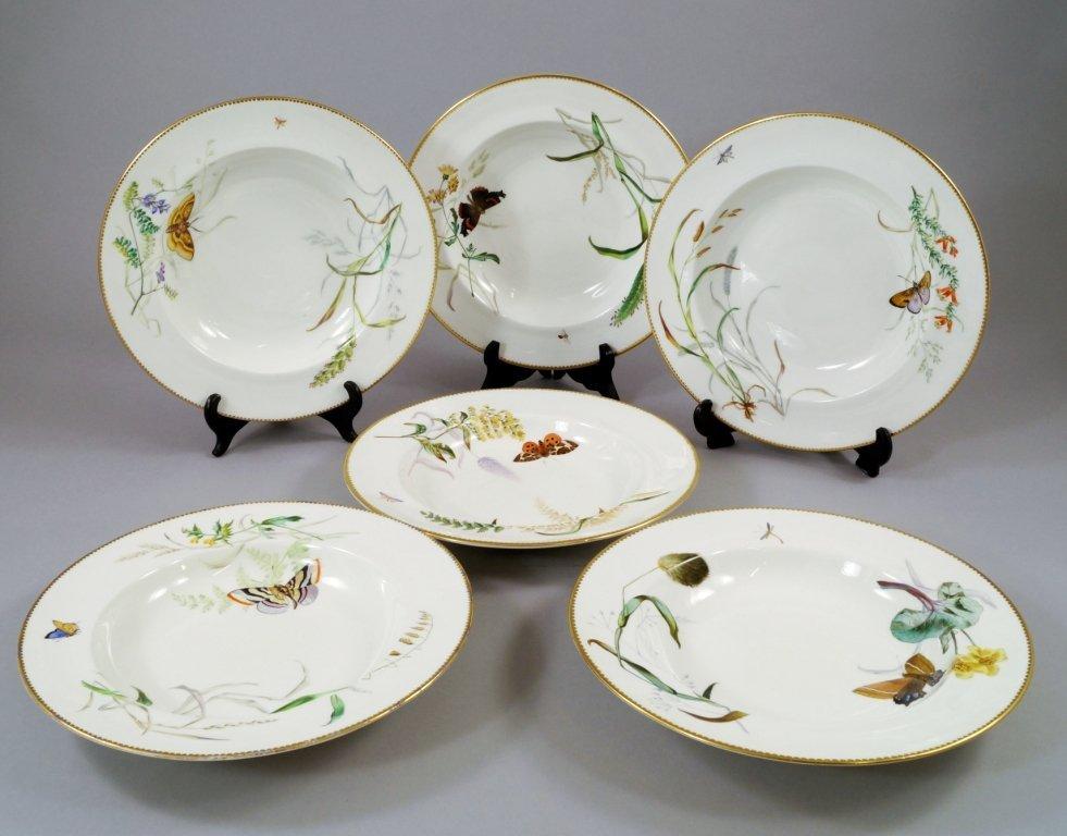 Ten Copeland porcelain botanical plates, pattern D6366,