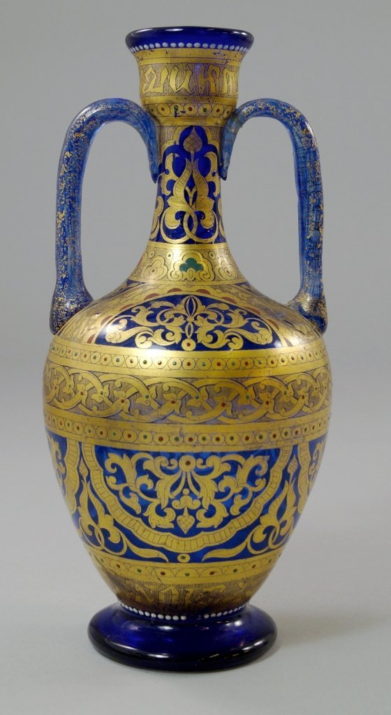 An Italian Murano glass twin handled vase, possibly