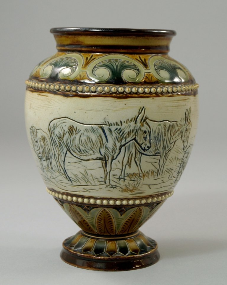 A Doulton vase by Hannah Barlow (1851-1916), the vase