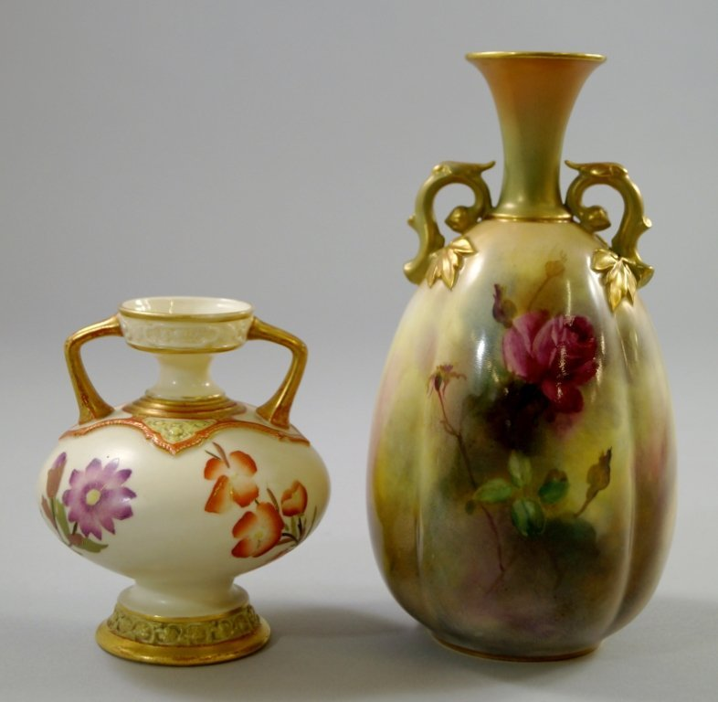A Royal Worcester twin handled vase, circa. 1888,