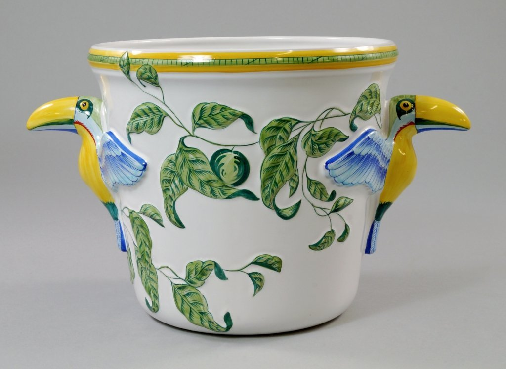 A Hermes faience ice bucket, the handles of toucan