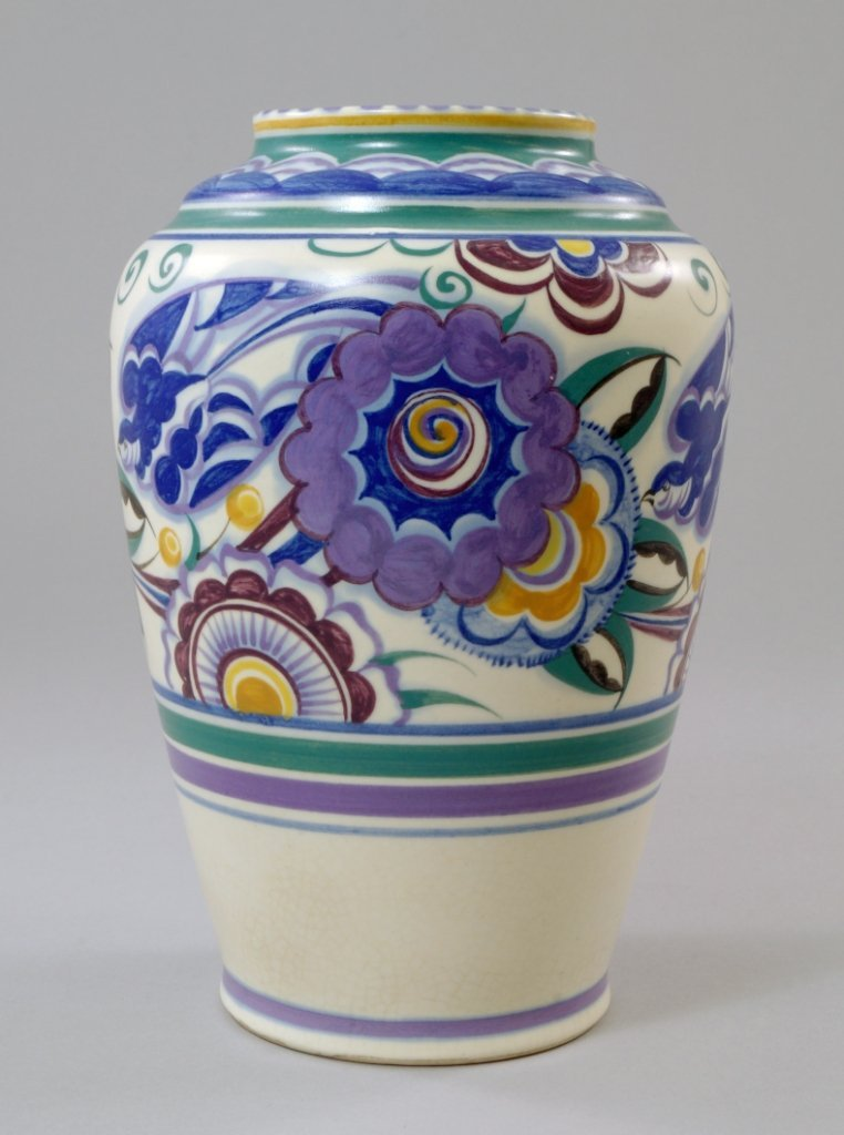 A Poole pottery vase, 20th century, painted with the
