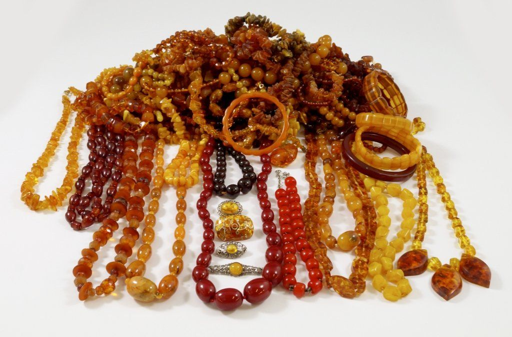A large collection of amber jewellery, to include