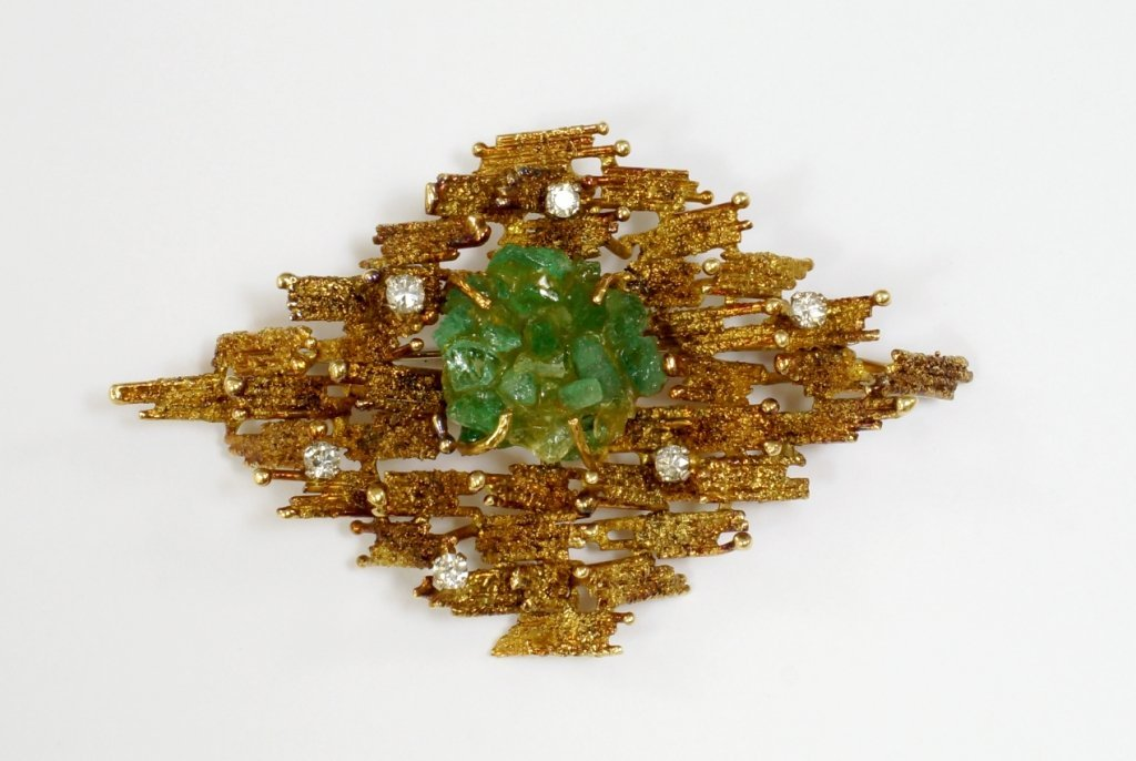 An 18ct gold, emerald and diamond set brooch, 1970,