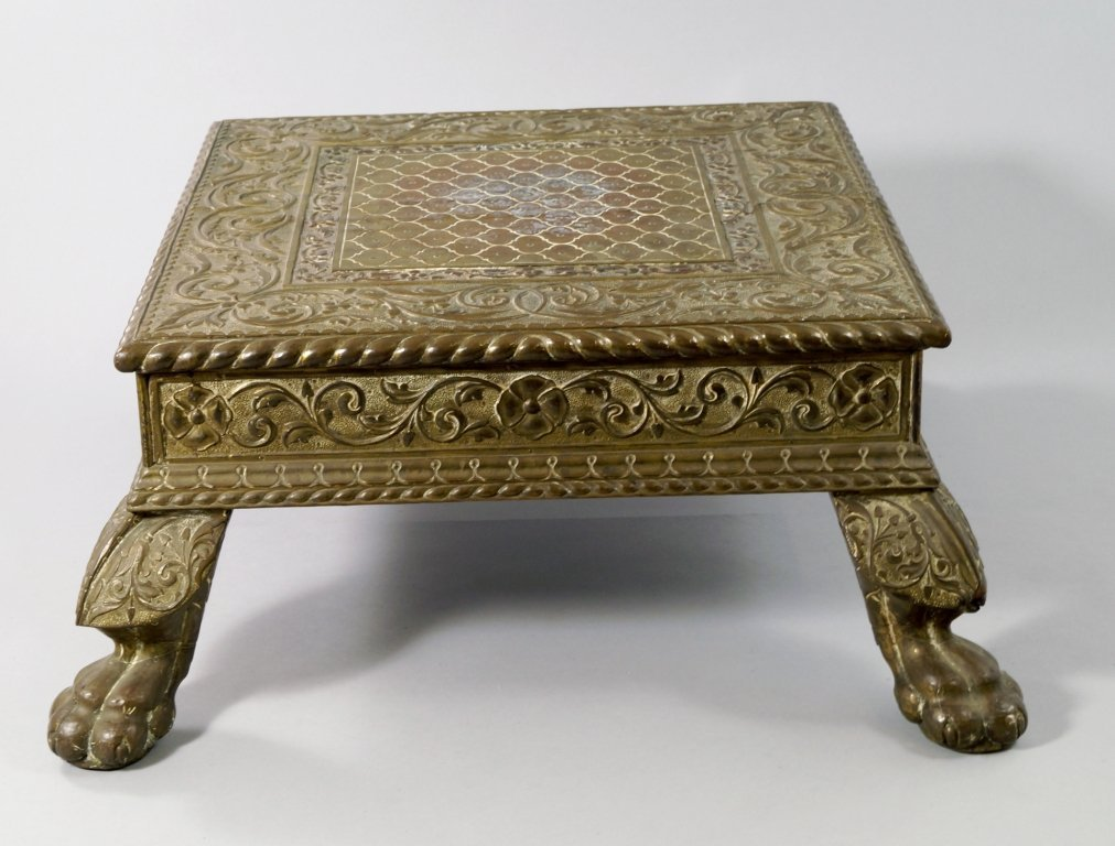 An Indian brass and wood square stand, 19th century,