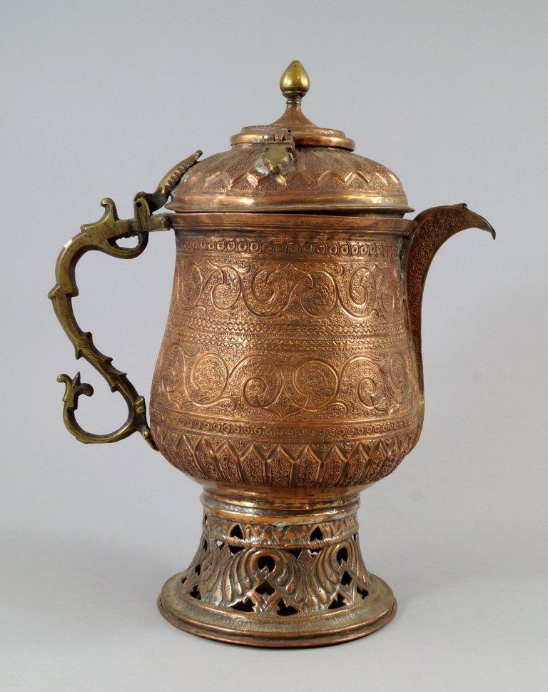 A Kashmiri copper samovar kettle, the double hinged lid