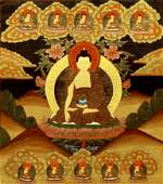 A Tibetan thanka, painted to the centre with a Buddha