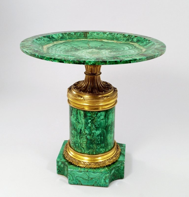 A Russian ormolu mounted malachite veneered tazza, mid