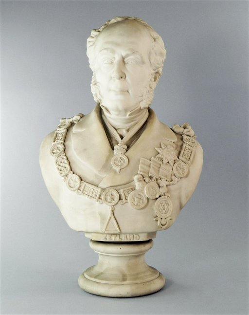 A Wedgwood Masonic Bust of Lord Zetland in Grand Master