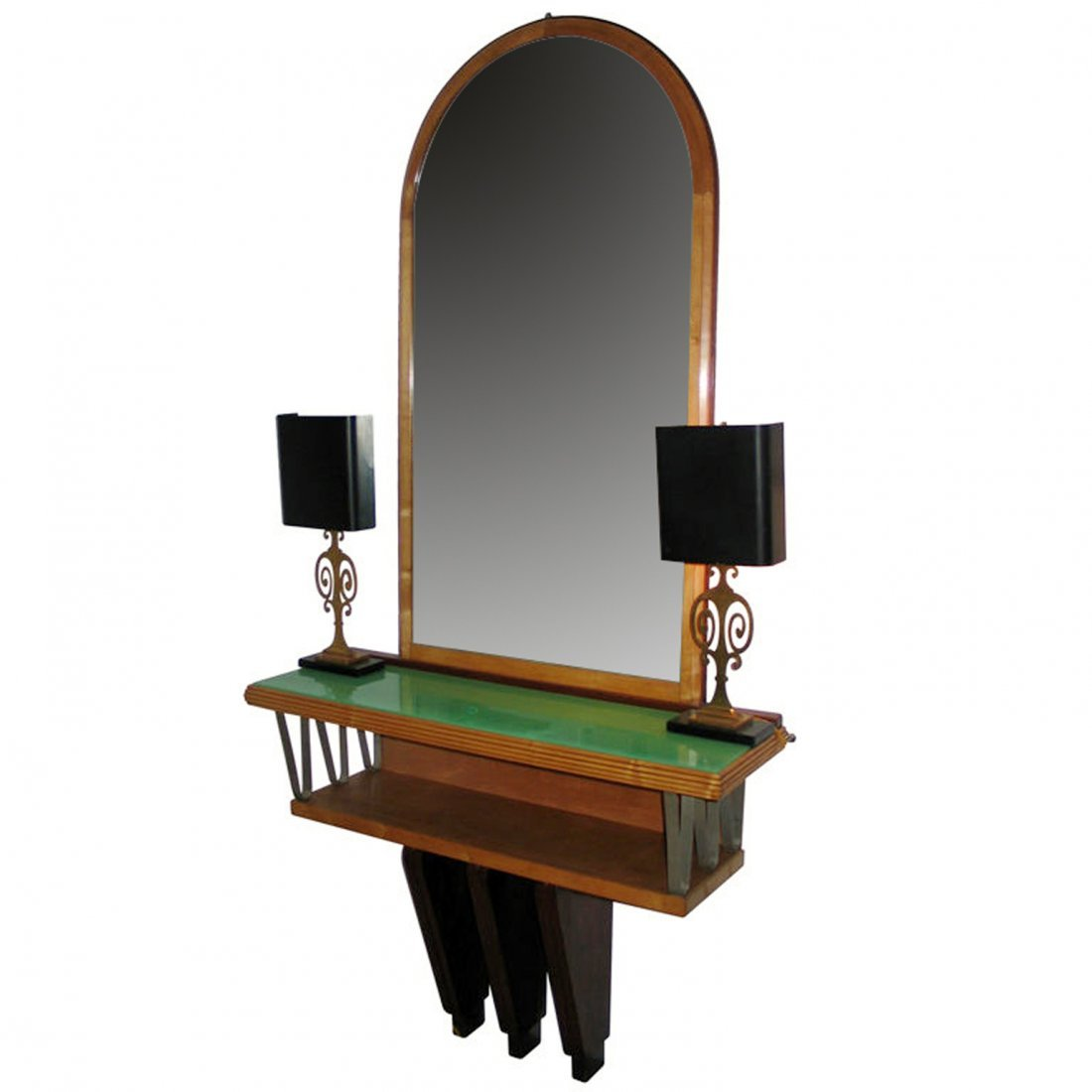 An Italian maple mirror back console table, c.1930, the