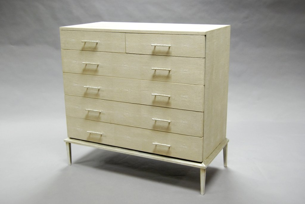 A rectangular ivory shagreen chest of drawers, of