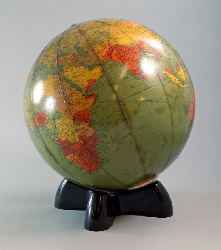 A Globe lamp, by Georama Ltd, on a black base, 40.5 cm