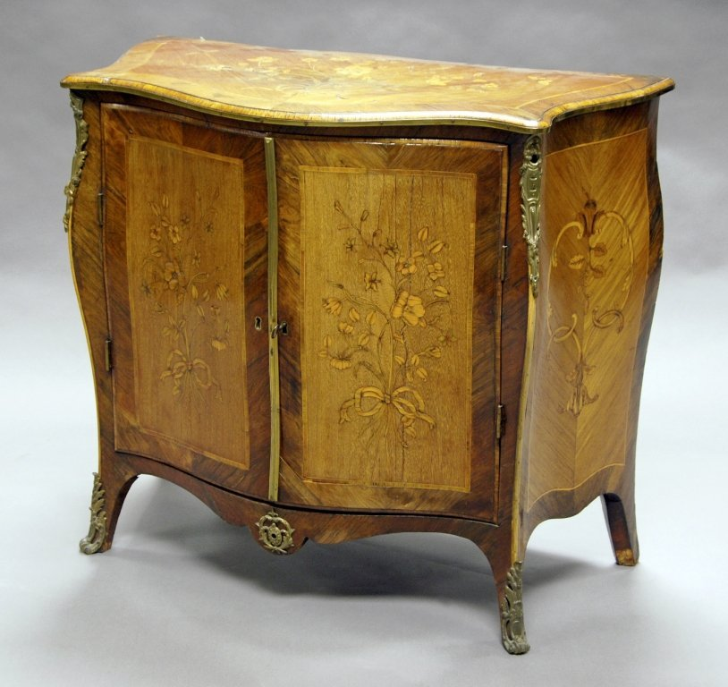 A George III  kingwood, rosewood and floral marquetry
