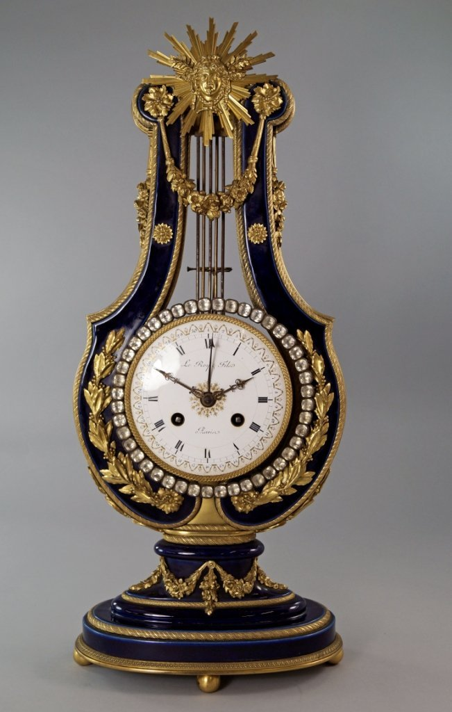 A French Sevres-style porcelain and gilt bronze lyre