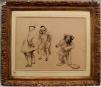 French School, circa 1900- Circus performers; black &