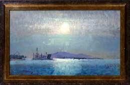 Fred Cuming RA, British b.1930- Coastal landscape; oil