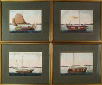 A collection of four Chinese export gouache paintings