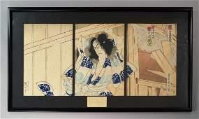 Kunichika (1835-1900) A Japanese triptych of the Swords