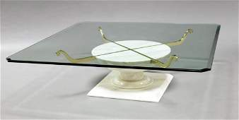 A contemporary plate glass and marble based coffee