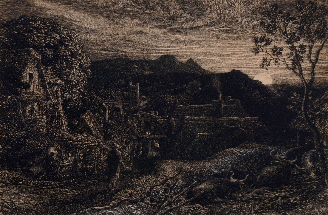 Samuel Palmer RWS, British 1805-1881- ''The Bellman''