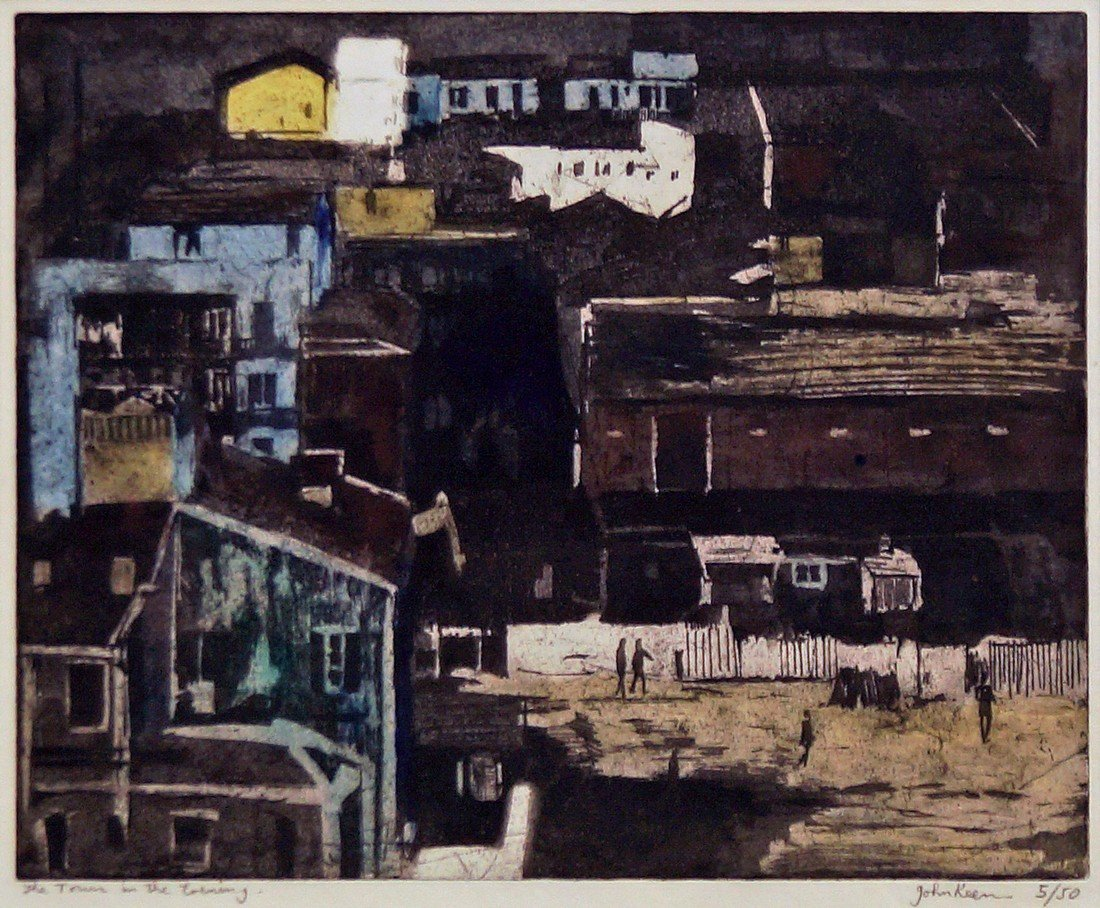 John Keen, British b.1924- ''The Town in the Evening'';