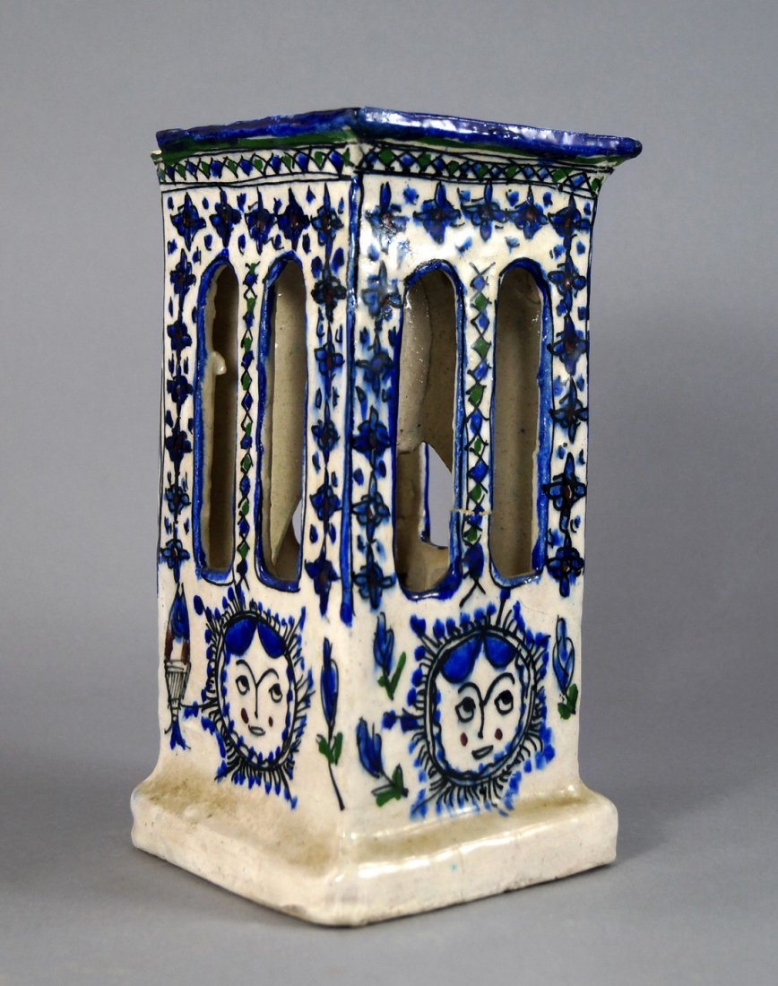 A Persian style blue and white pottery light shade /