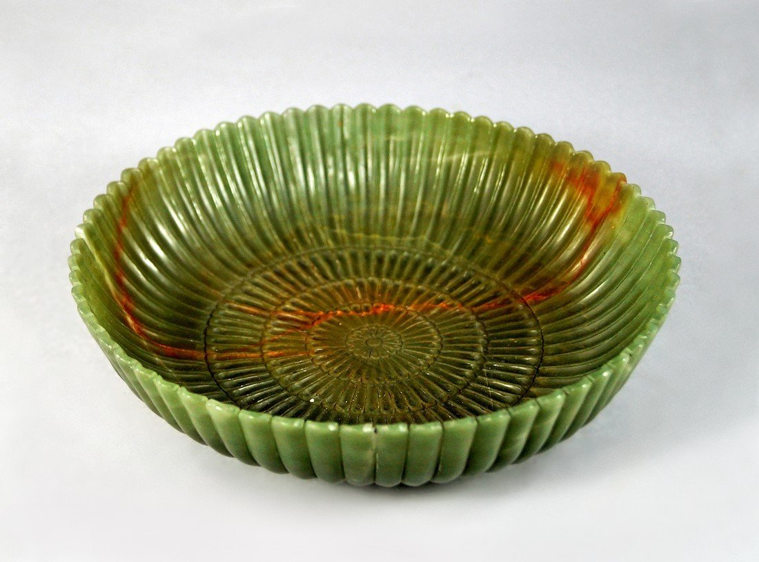 A jade style circular dish in the Mughal taste, the