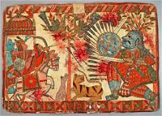 A double sided Indian Paithan folk painting of the