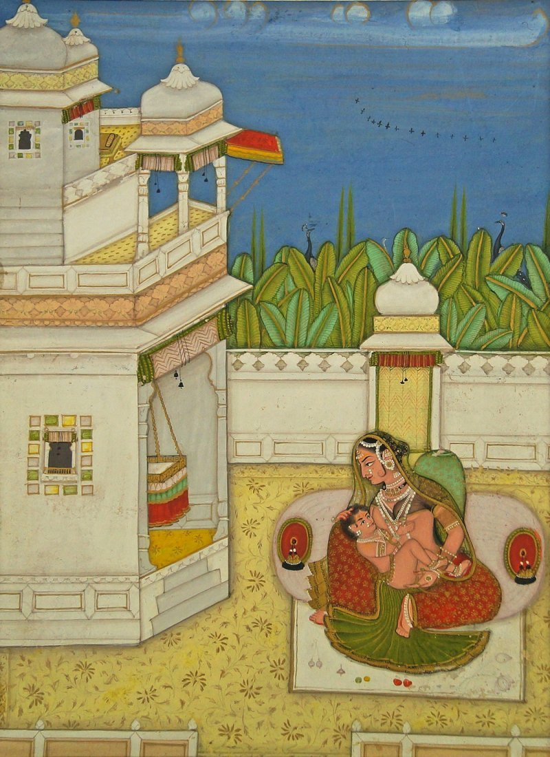 An Indian miniature painting of a mother and child,