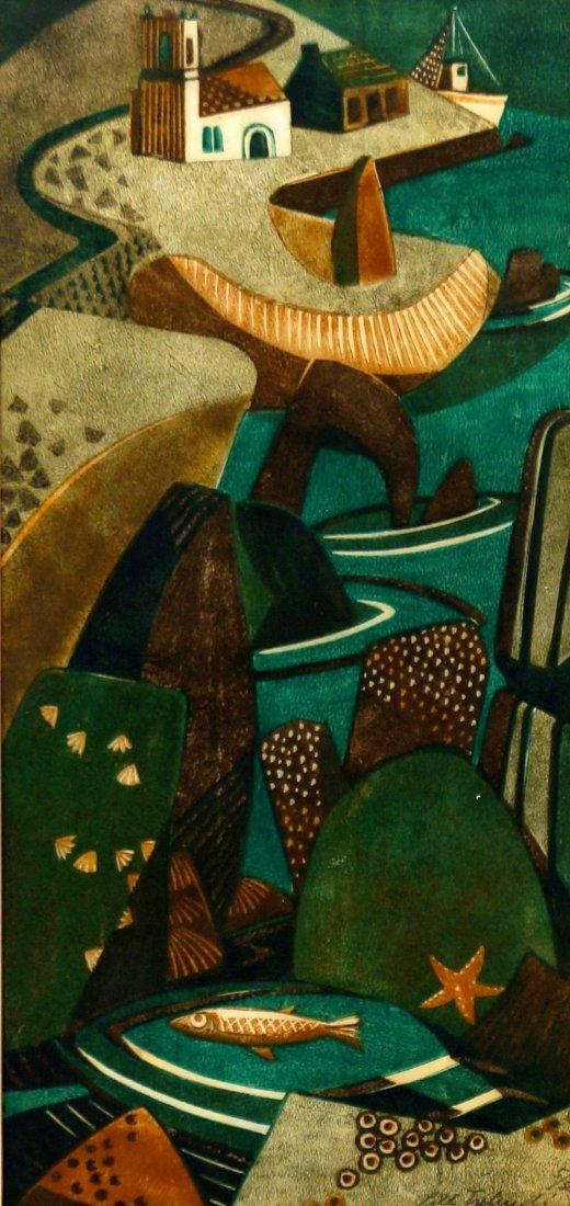 Lill Tschudi, Swiss 1911-2004- ''Im Hafen''; linocut in