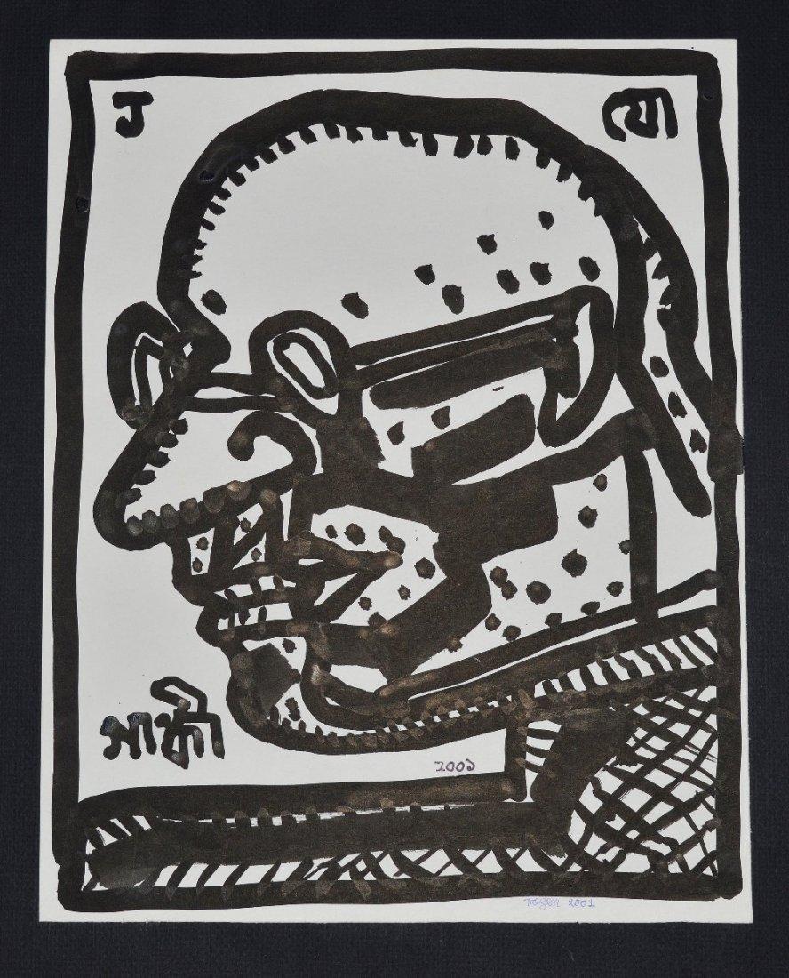Jogen Chowdhury, Indian b.1939- ''Gandhiji''; brush and