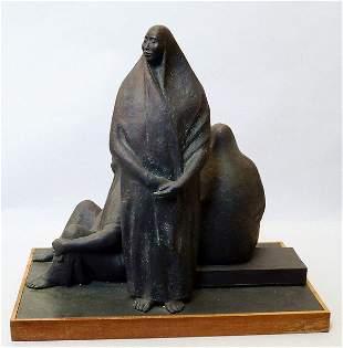 Armando Amaya, Mexican b.1935- Tres figuras sentadas;