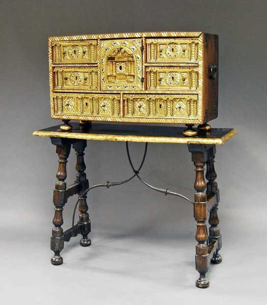 A Spanish Vargueno cabinet, 17th century and later, the