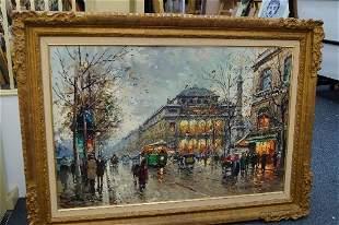 Antoine Blanchard, French 1910-1988- Parisian boulevard