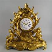 A large and impressive French ormolu mantel clock by