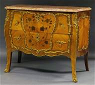 A French Louis XV style kingwood and marble topped