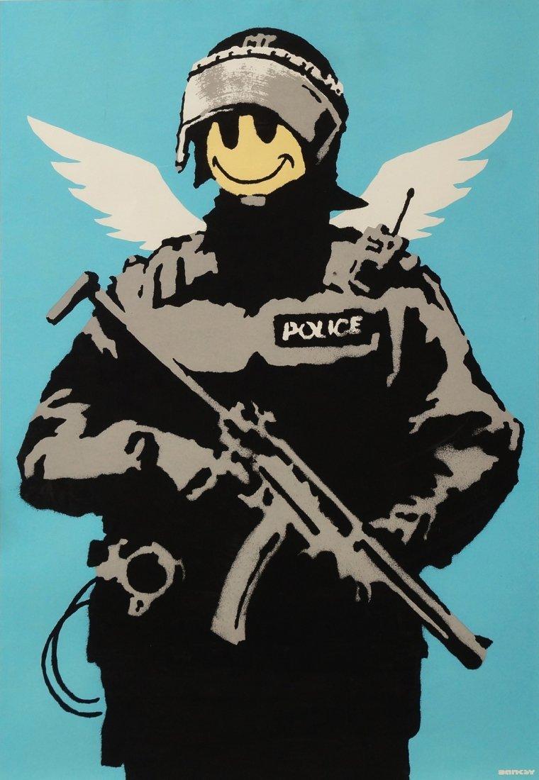 Banksy, British b.1974- ''Flying Copper''; screenprint