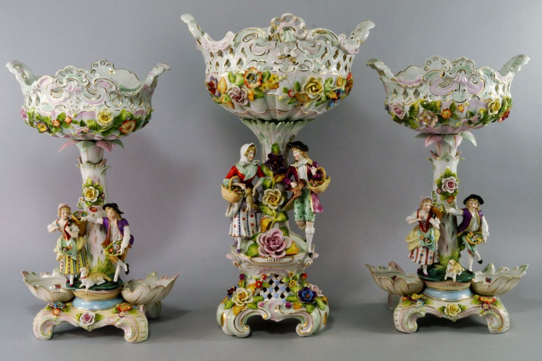 A group of three Continental porcelain baskets on