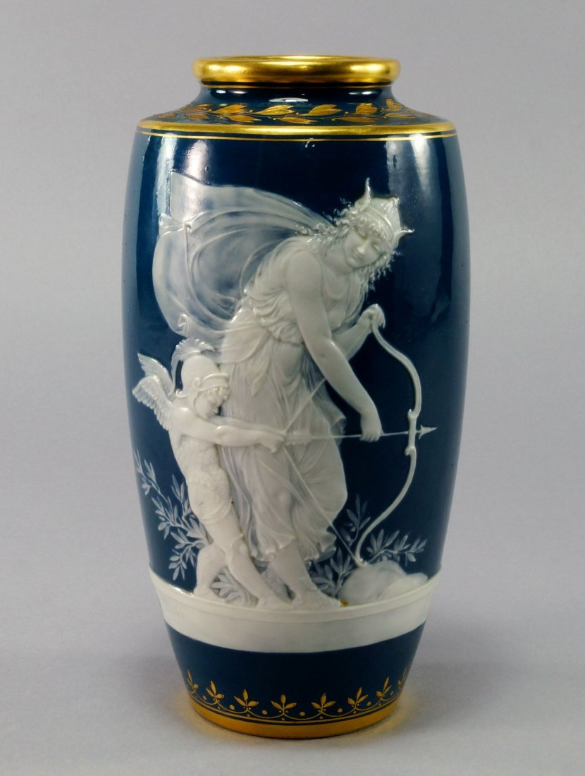 A Minton pate sur pate vase by Alboin Birks, late
