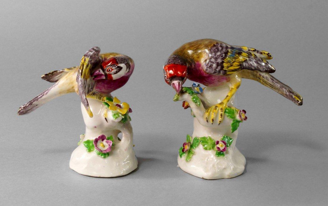 A pair of Bow models of birds, circa. 1760-1770,